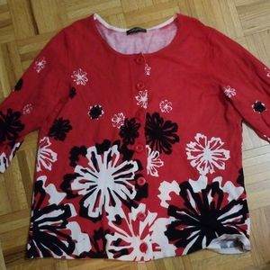 Designers Originals red, black and white sweater.